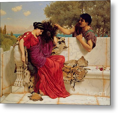 The Old Story Metal Print by John William Godward
