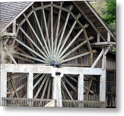 The Old Waterwheel Metal Print by April Wietrecki Green