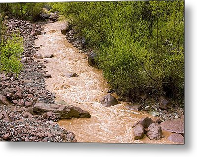 The Ourika River In Spate Metal Print by Bob Gibbons