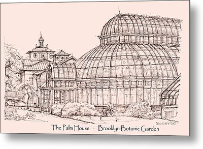 The Palm House In Pink Metal Print by Building  Art