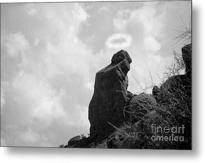 The Praying Monk With Halo - Camelback Mountain Bw Metal Print by James BO  Insogna