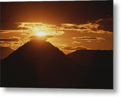 The Pyramid Of The Sun Silhouetted Metal Print by Kenneth Garrett