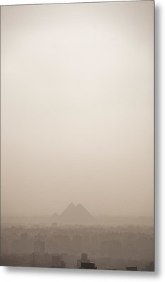 The Pyramids Rise Over The Smog Metal Print by Taylor S. Kennedy