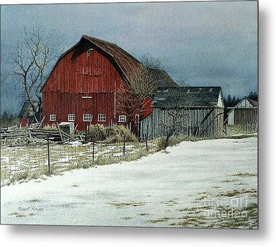 The Red Barn Metal Print by Robert Hinves