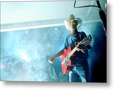The Red Guitar Metal Print by Mary Frances