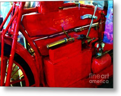 The Red Steam Flyer . Steam Powered Motorcycle . 7d14374 Metal Print by Wingsdomain Art and Photography