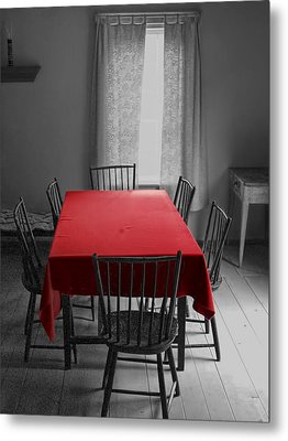 The Red Table Cloth Metal Print by Randall Nyhof