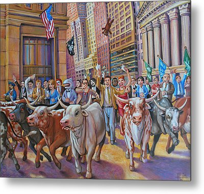 The Running Of The Bulls Metal Print by Henry David Potwin