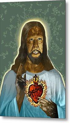 The Sacred Heart Of Wolfman Jesus Metal Print by Travis Burns
