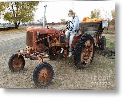The Scarecrow Riding On The Old Farm Tractor . 7d10299 Metal Print by Wingsdomain Art and Photography