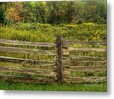 The Split Rail Meadow Metal Print by Benanne Stiens