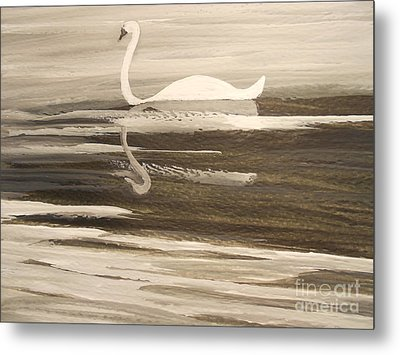 The Swans Song....melody Of Motherhood Metal Print by Barbara McNeil