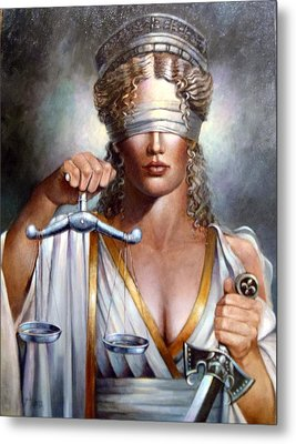 The Sword And Scales Of Justice Metal Print by Geraldine Arata