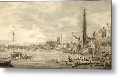 The Thames Looking Towards Westminster From Near York Water Gate  Metal Print by Giovanni Antonio Canaletto