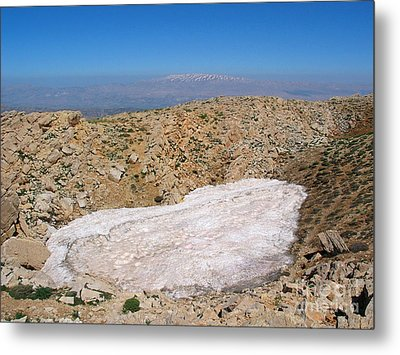 the un melted snow in Sannir mountains  Metal Print by Issam Hajjar