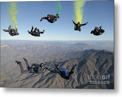 The U.s. Navy Parachute Demonstration Metal Print by Stocktrek Images