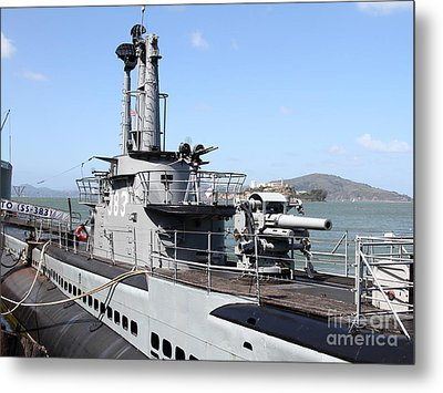 The Uss Pampanito Submarine At Fishermans Wharf With Alcatraz In The Distance.san Francisco.7d14420 Metal Print by Wingsdomain Art and Photography