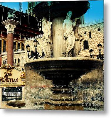 The Venetian Fountain In Las Vegas Metal Print by Susanne Van Hulst
