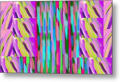 The Waves Violet Turquoise Pink Green Metal Print by Rosana Ortiz