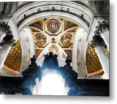 The West Doorway Of St Paul's Cathedral Metal Print by Steve Taylor