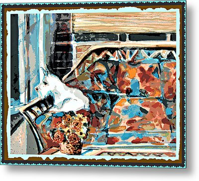 The Westie Watch Metal Print by Mindy Newman