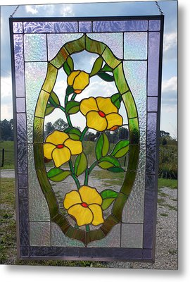 The Yellow Roses Stained Glass Panel Metal Print by Arlene  Wright-Correll