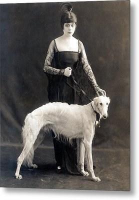 Theda Bara With Her Russian Wolfhound Metal Print by Everett