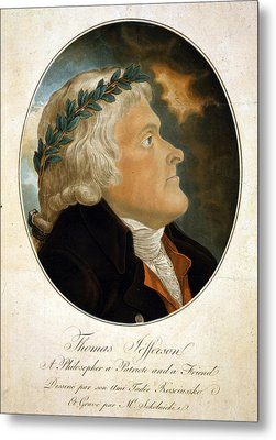 Thomas Jefferson, Color Aquatint Afte Metal Print by Everett