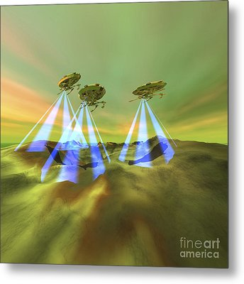 Three Alien Spaceships Steal Metal Print by Corey Ford