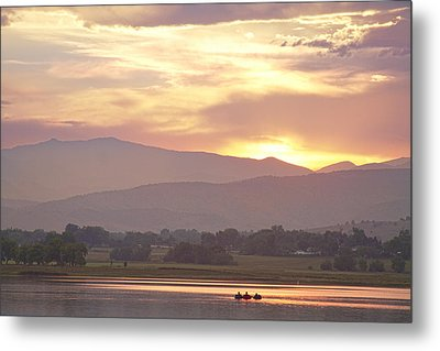 Three Belly Boats Golden Scenic View Metal Print by James BO  Insogna