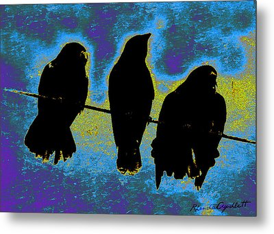 Three Crows Metal Print by YoMamaBird Rhonda