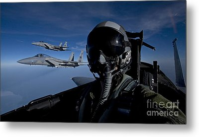 Three F-15 Eagles Fly High Metal Print by HIGH-G Productions