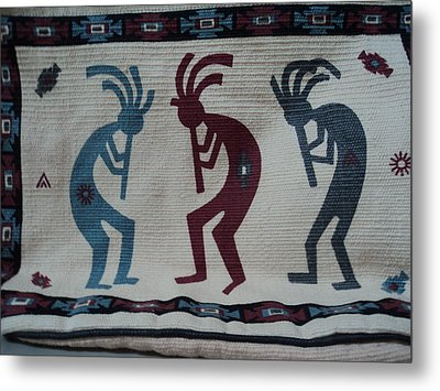 Three Flute Players Kokopelli Style Metal Print by Anne-Elizabeth Whiteway