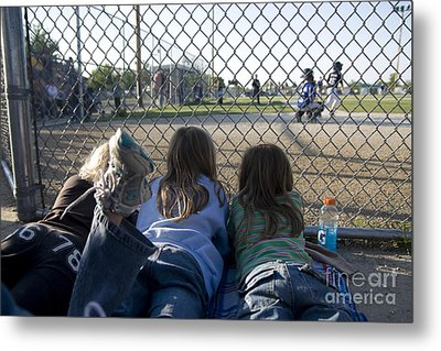 Three Girls Watching Ball Game Behind Home Plate Metal Print by Christopher Purcell