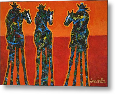 Three In Orange Metal Print by Lance Headlee