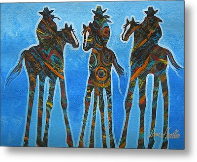 Three In The Blue Metal Print by Lance Headlee
