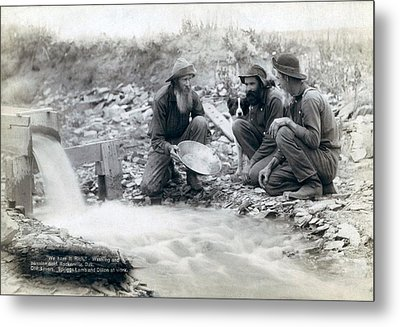 Three Men, With Dog, Panning For Gold Metal Print by Everett