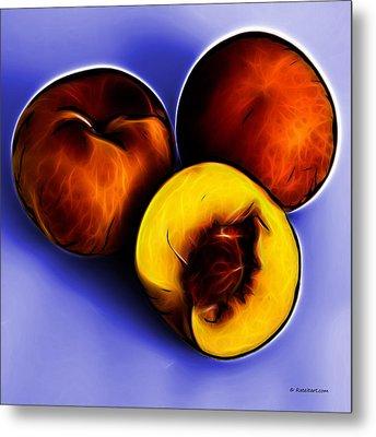 Three Peaches - Blue Metal Print by James Ahn