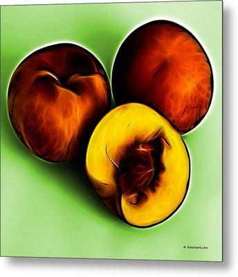 Three Peaches - Green Metal Print by James Ahn
