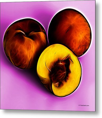 Three Peaches - Magenta Metal Print by James Ahn