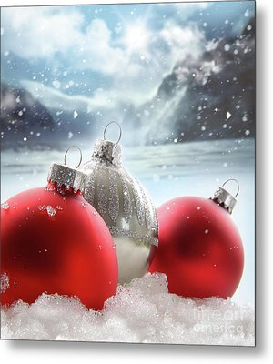 Three Red Christmas Balls In The Snow Metal Print by Sandra Cunningham
