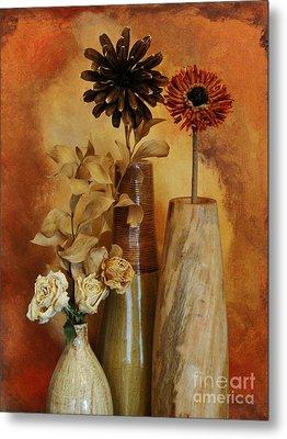 Three Vases Of Dried Flowers Metal Print by Marsha Heiken