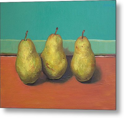 Three Yellow Pears With Green Wall Metal Print by Yuki Komura