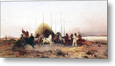 Threshing Wheat In New Mexico Metal Print by Thomas Moran