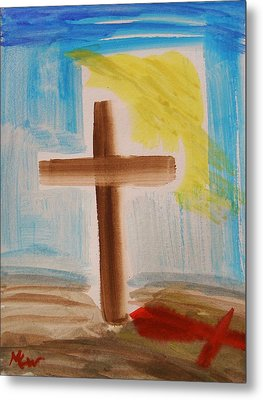 Tim Tebow's Cross-easter Monday Metal Print by Mary Carol Williams