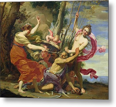 Time Overcome By Youth And Beauty Metal Print by Simon Vouet