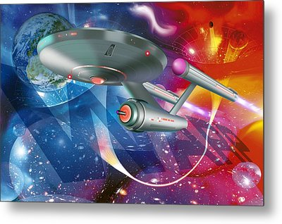 Time Travelling Spacecraft, Artwork Metal Print by Detlev Van Ravenswaay