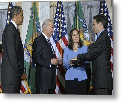 Timothy Geithner Sworn-in As Secretary Metal Print by Everett