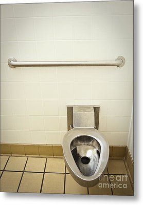 Toilet In A Public Restroom Metal Print by Thom Gourley/Flatbread Images, LLC