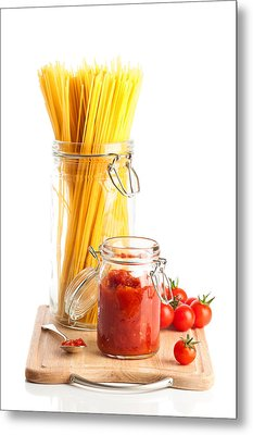 Tomatoes Sauce And  Spaghetti Pasta  Metal Print by Amanda And Christopher Elwell
